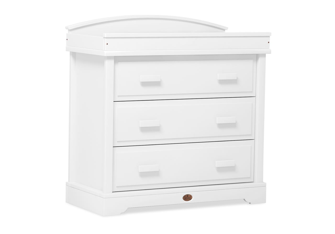 3 Drawer dresser (with Arched Changing station) - White