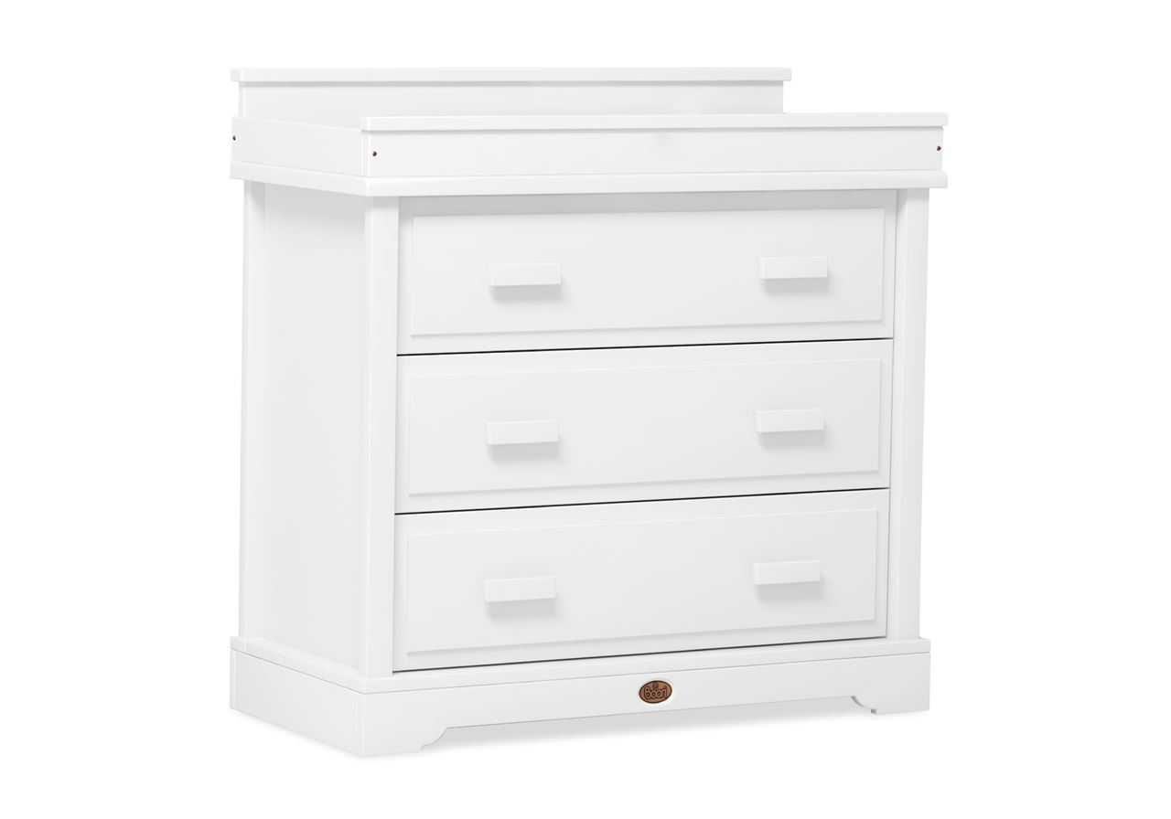 3 Drawer dresser (shown with Squared Changing station) – White