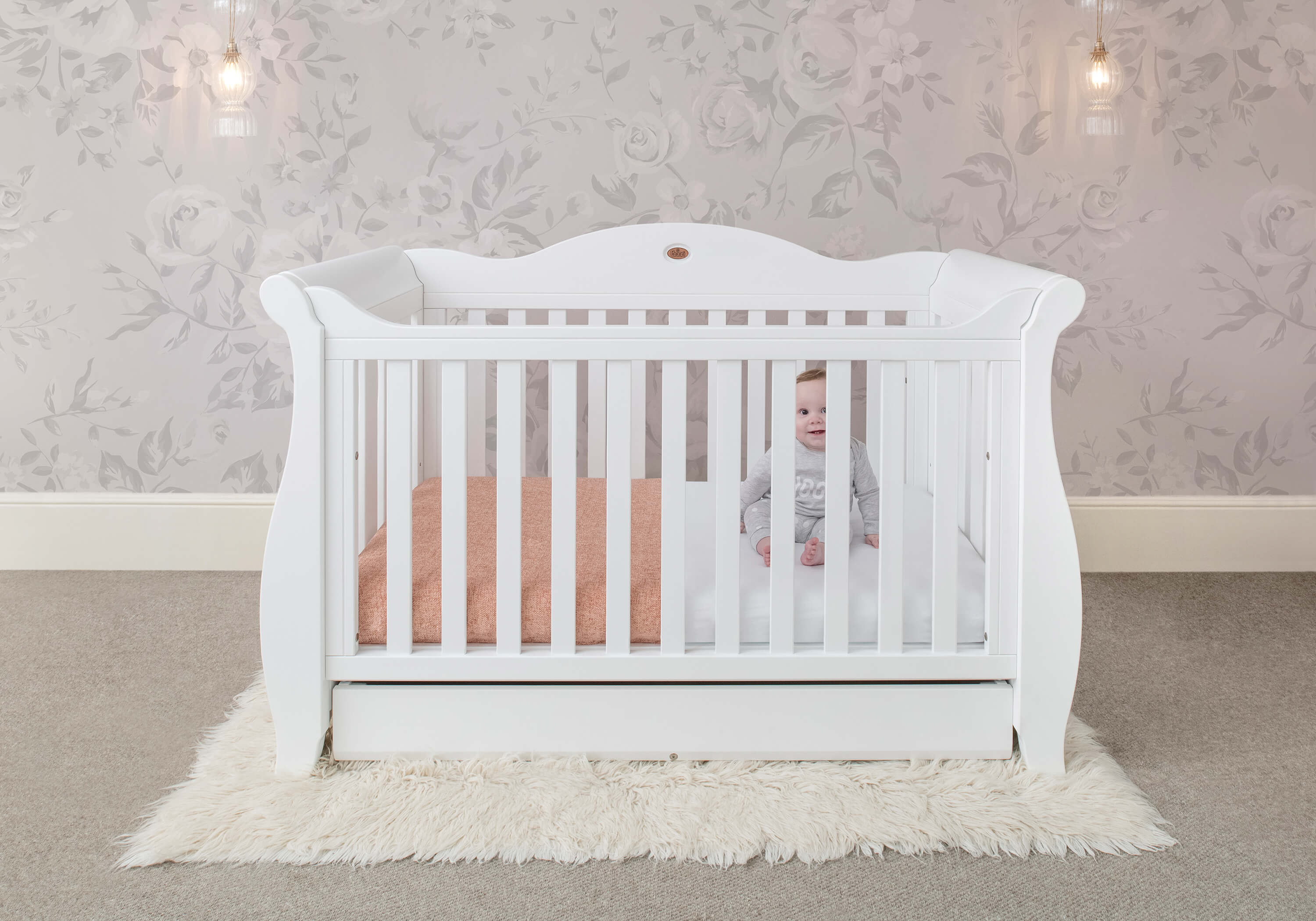 Sleigh Royale Cot Bed White Boori