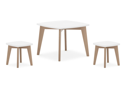 Thetis Squared Table & Two Thetis Stools