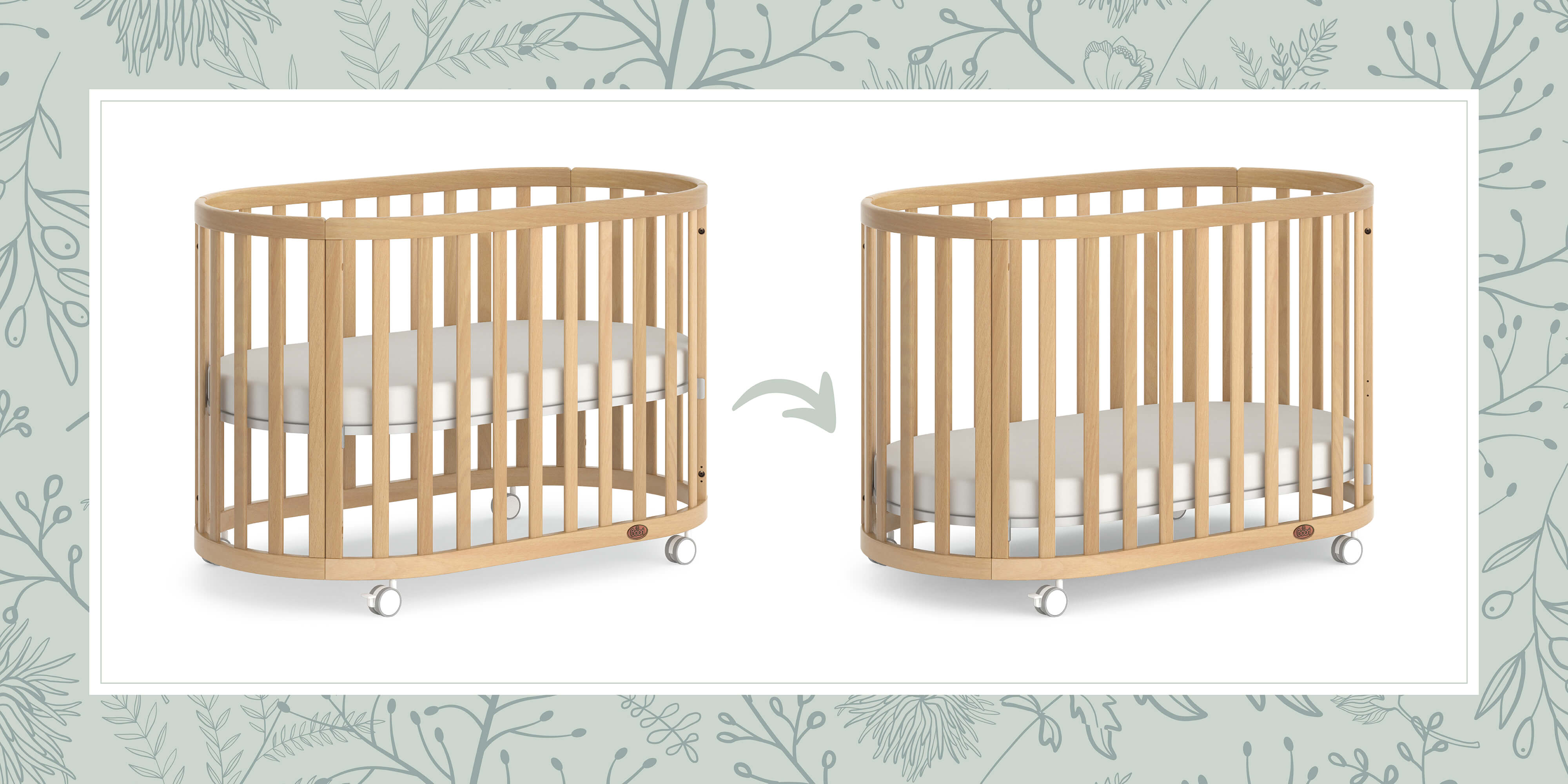 Eden Oval Cot in Low and High Base Height positions
