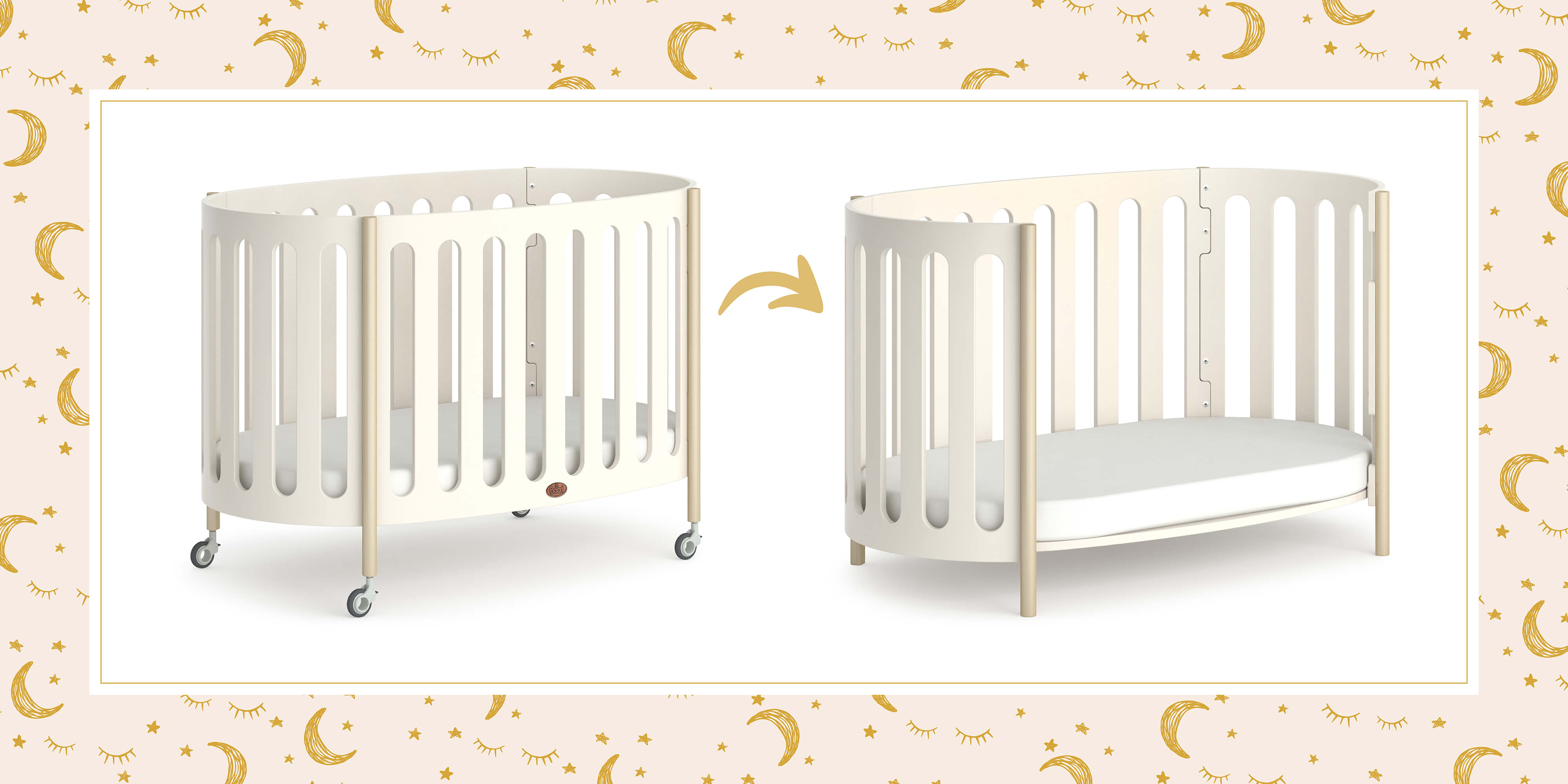 Luna Oval Cot as cot and toddler sofa