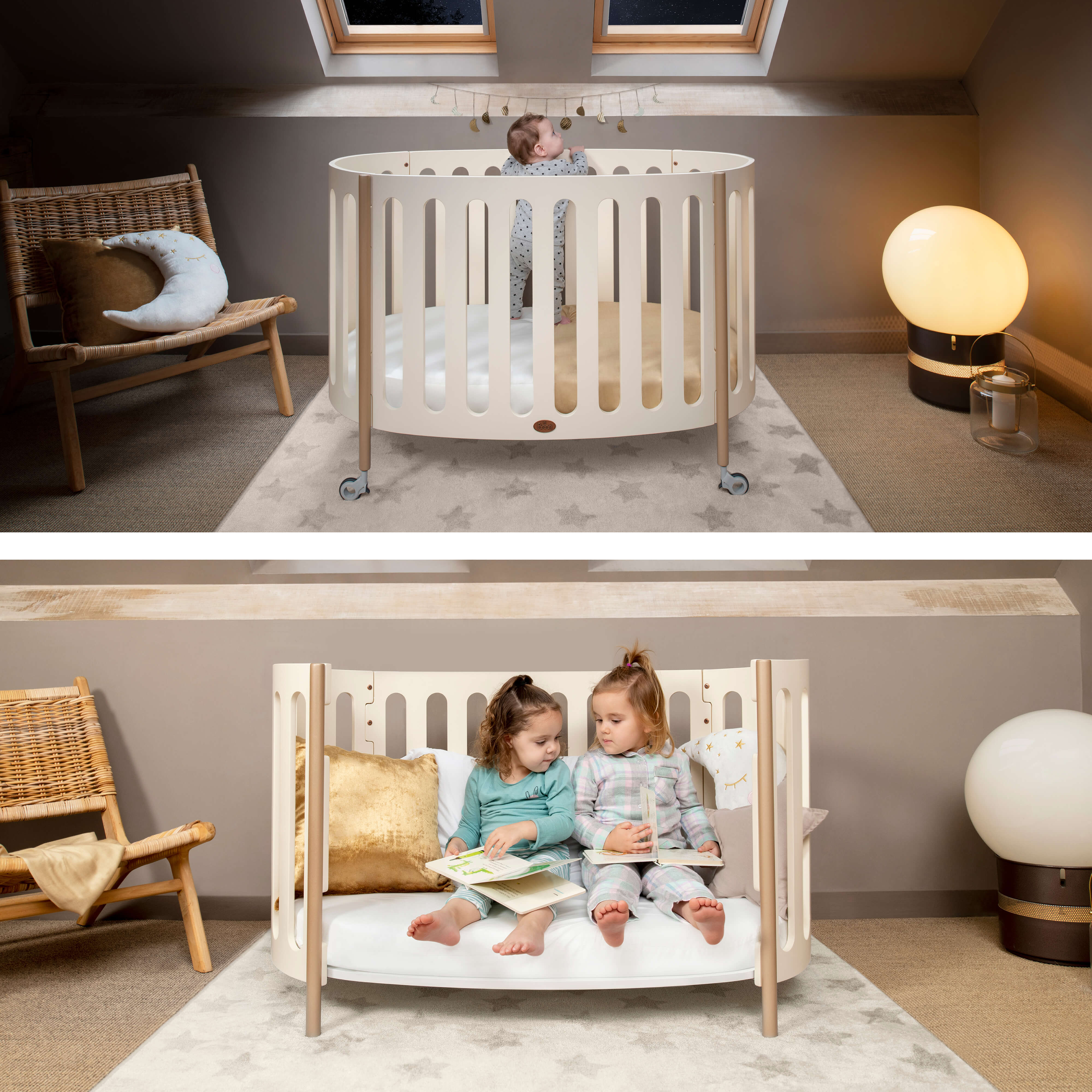 Luna Oval Cot in cot bed and toddler sofa positons