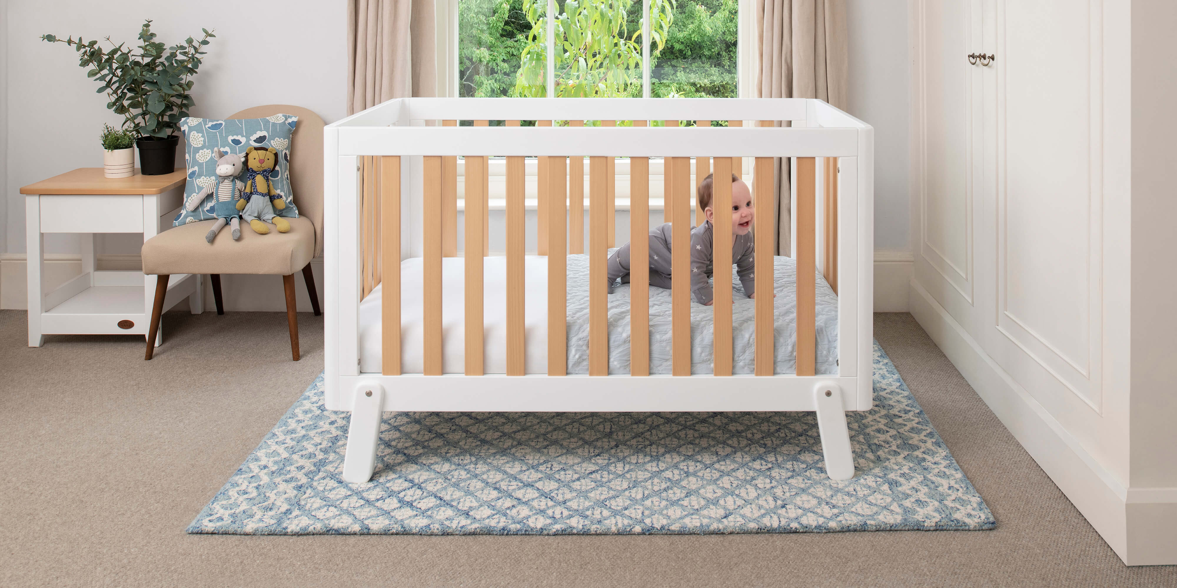 Turin Cot Bed in White and Almond