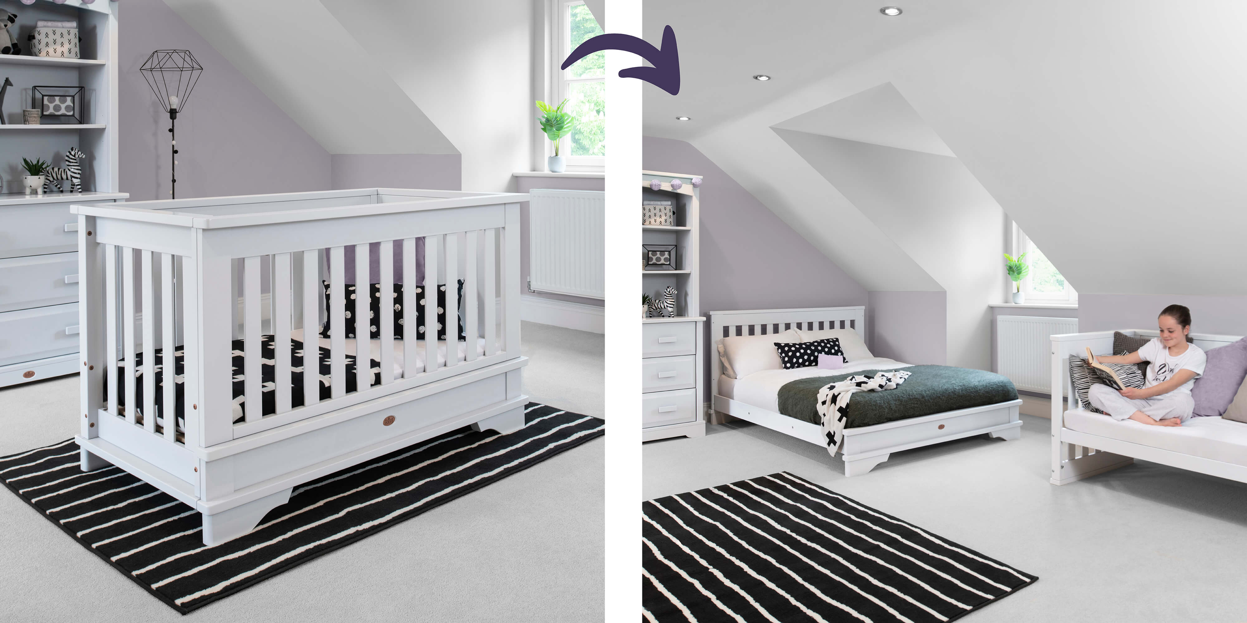 Eton Convertible Plus in cot bed and double bed as well as sofa mode