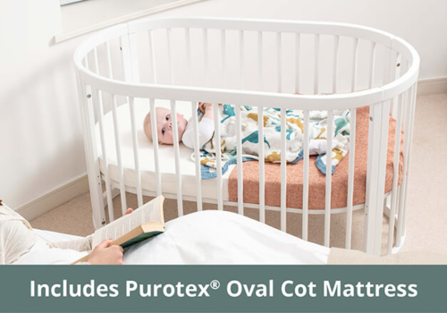 Oasis Oval Cot & Mattress Bundle